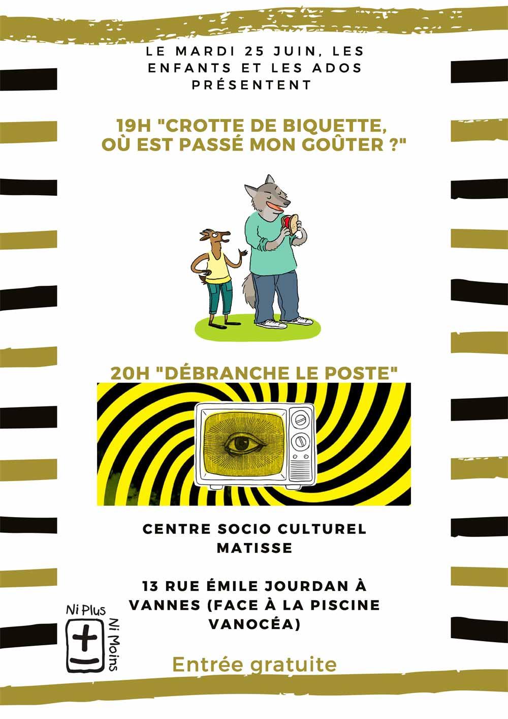 Crotte de biquette, où est passé mon goûter, Compagnie Ni Plus Ni Moins, ateliers théâtre pour tous (petits, enfants, ados, adultes) à Vannes dans le Morbihan